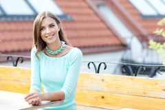 Portrait of a beautiful woman in sunny weather. royalty free stock photo