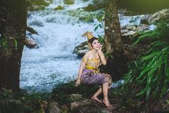 Portrait of Beautiful woman in Thai Traditional dress, Kinnara I Royalty Free Stock Photos