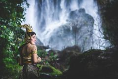 Portrait of Beautiful woman in Thai Traditional dress, Kinnara I Stock Photography