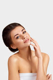Portrait of beautiful woman. Touching her face. Portrait of beautiful woman. Perfect Fresh Skin Royalty Free Stock Photography
