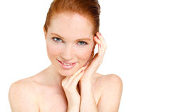 Portrait of Beautiful woman touching her face. Woman with Fresh Clean Skin, Beautiful Face. Pure Natural Beauty. Perfect Skin. Iso Royalty Free Stock Photo