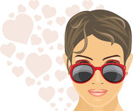 Portrait of a beautiful woman in trendy red sunglasses Stock Image