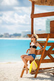 Portrait of a beautiful woman on a tropical beach. Royalty Free Stock Photos