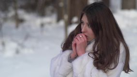 Portrait of Beautiful Woman Trying to Warm Her Frozen Hands with a Breath in Winter forest stock video