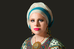 Portrait of beautiful  woman with turban Stock Photo