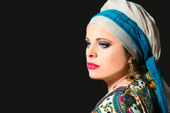 Portrait of beautiful  woman with turban Stock Images
