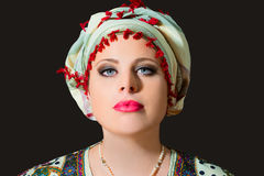 Portrait of beautiful  woman with turban Royalty Free Stock Photos