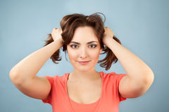 Portrait of beautiful woman with two ponytails Royalty Free Stock Image