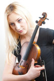 Portrait of beautiful woman with violine Royalty Free Stock Photo