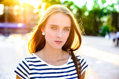 Portrait of beautiful woman walking in the city Royalty Free Stock Image