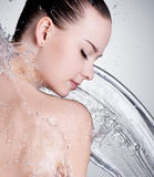 Portrait of beautiful woman with water Stock Image