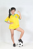 Portrait Beautiful woman with wearing Brazil football top Royalty Free Stock Photography