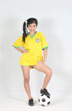 Portrait Beautiful woman with wearing Brazil football top Stock Image
