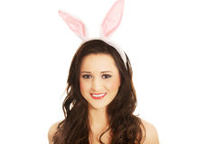 Portrait of beautiful woman wearing bunny ears Stock Images