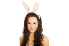 Portrait of beautiful woman wearing bunny ears Stock Image