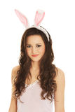 Portrait of beautiful woman wearing bunny ears Stock Photography