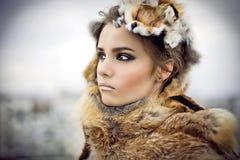 Portrait a beautiful woman wearing fur
