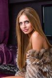 Beautiful woman wearing fur Royalty Free Stock Photos