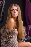 Beautiful woman wearing fur Royalty Free Stock Image