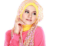 Portrait of beautiful woman wearing hijab Stock Photos