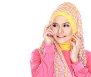 Portrait of beautiful woman wearing hijab Stock Photos