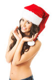 Portrait of beautiful woman wearing santa claus hat Stock Images