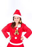 Portrait of a beautiful woman wearing a santa hat smiling Stock Photo