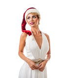 Portrait beautiful woman wearing a santa hat Royalty Free Stock Image