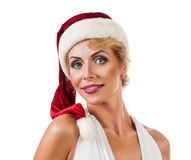 Portrait beautiful woman wearing a santa hat Royalty Free Stock Photos