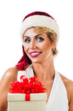 Portrait beautiful woman wearing a santa hat Royalty Free Stock Photography