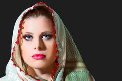 Portrait of beautiful  woman wearing scarf Royalty Free Stock Photos
