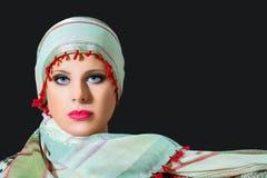 Portrait of beautiful  woman wearing scarf Royalty Free Stock Image