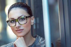 Portrait of beautiful woman wearing spectacles Royalty Free Stock Photo