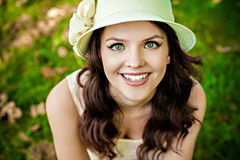 Portrait of beautiful woman wearing a straw hat Stock Photo