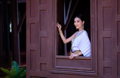 Portrait Beautiful woman wearing traditional thai culture vintag Stock Images