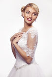Portrait of beautiful woman in wedding dress Royalty Free Stock Images
