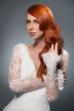 Portrait of beautiful woman in wedding dress Stock Images