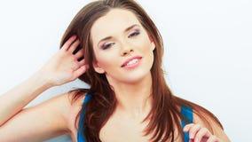 Portrait of Beautiful Woman. White background. Stock Photos