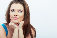 Portrait of Beautiful Woman. White background. Royalty Free Stock Photography