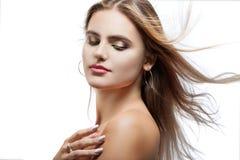 Portrait of beautiful woman on white background Stock Photos