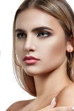 Portrait of beautiful woman on white background Stock Photo