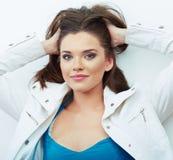 Portrait of Beautiful Woman.  white background. Royalty Free Stock Image