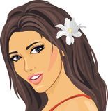 Portrait of a beautiful woman with a white flower. In her hairs. Illustration Stock Photos