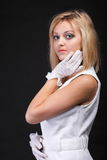 Portrait beautiful woman in white gloves Stock Images