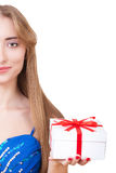 Portrait of beautiful woman who gives gift. Stock Image
