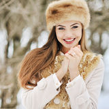 Portrait of a beautiful woman in winter Royalty Free Stock Images