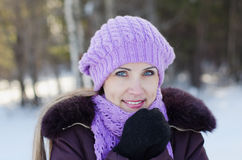 Portrait of the beautiful woman on winter walk Royalty Free Stock Photo