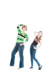 Portrait of the beautiful woman and young girl in the movement Stock Images