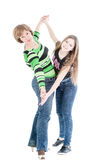 Portrait of the beautiful woman and young girl in the movement Stock Photo