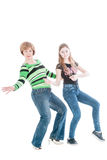 Portrait of the beautiful woman and young girl in the movement Stock Photography